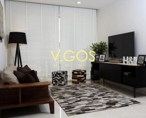 Motorised wooden venetian Blinds white colour with white wooven tape, Carpet in cow hide, stool in cow hide