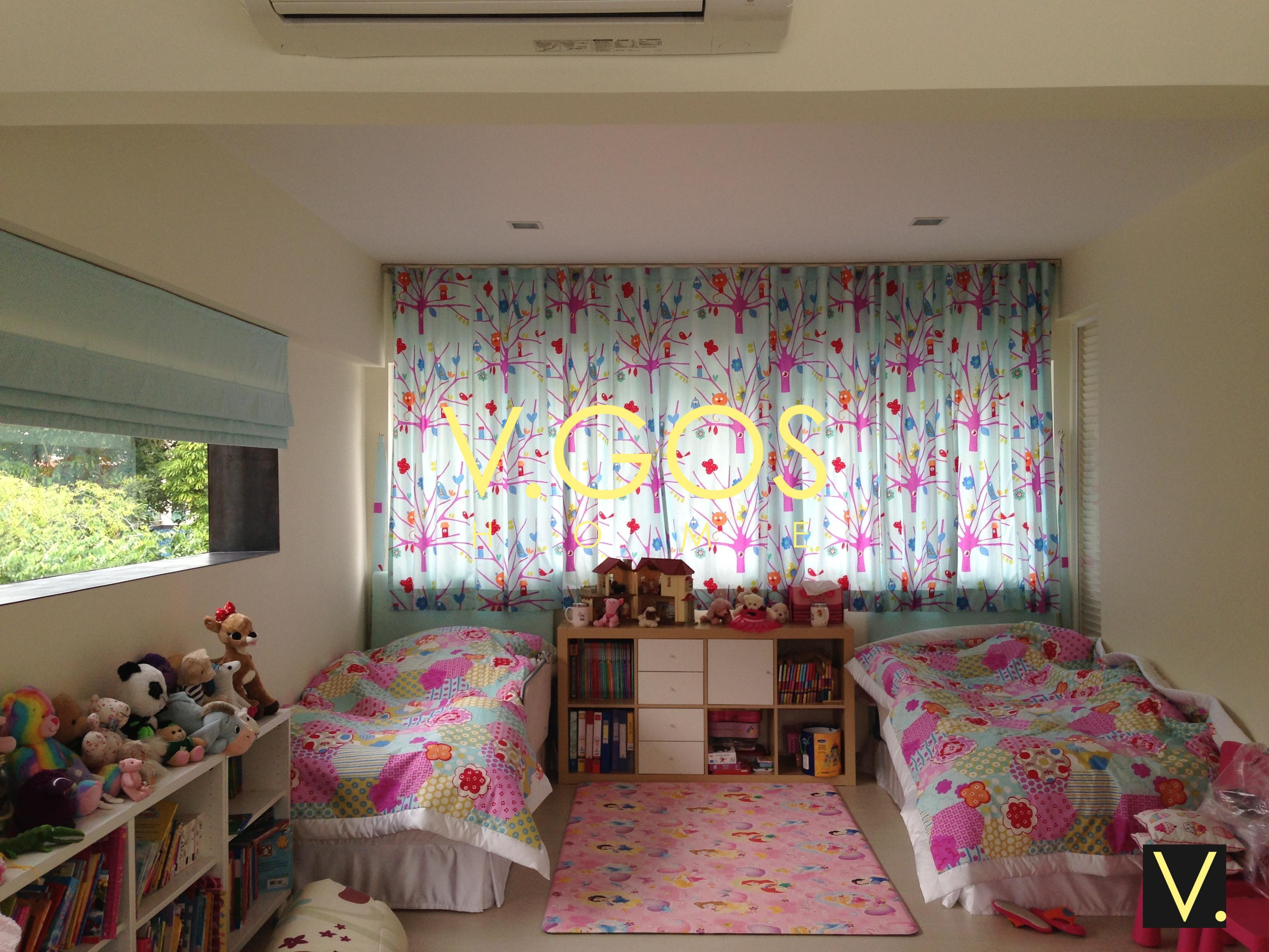 Roman blind , Night curtain , comforter , headboard and bed skirt.