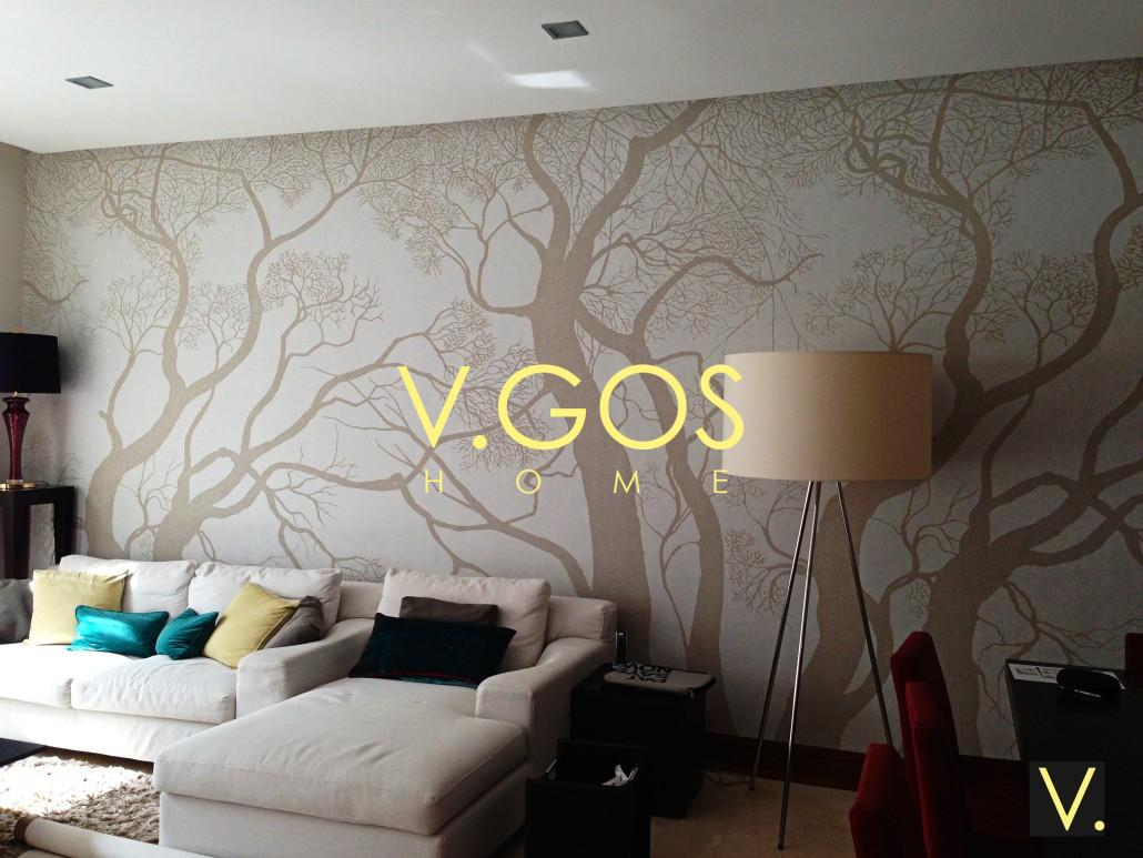 Wallpaper and re upholstery of sofa set v gos home - Wallpaper and curtain sets ...