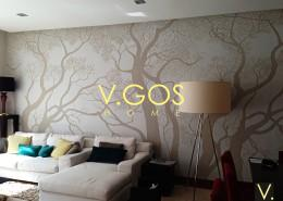 Wallpaper , re-upholstery of sofa set