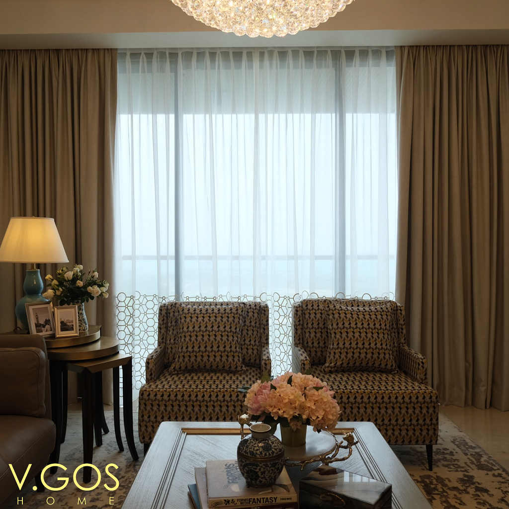 Vgoshome - Sheer with embroidery and night curtain - Marina One Residences - Singapore