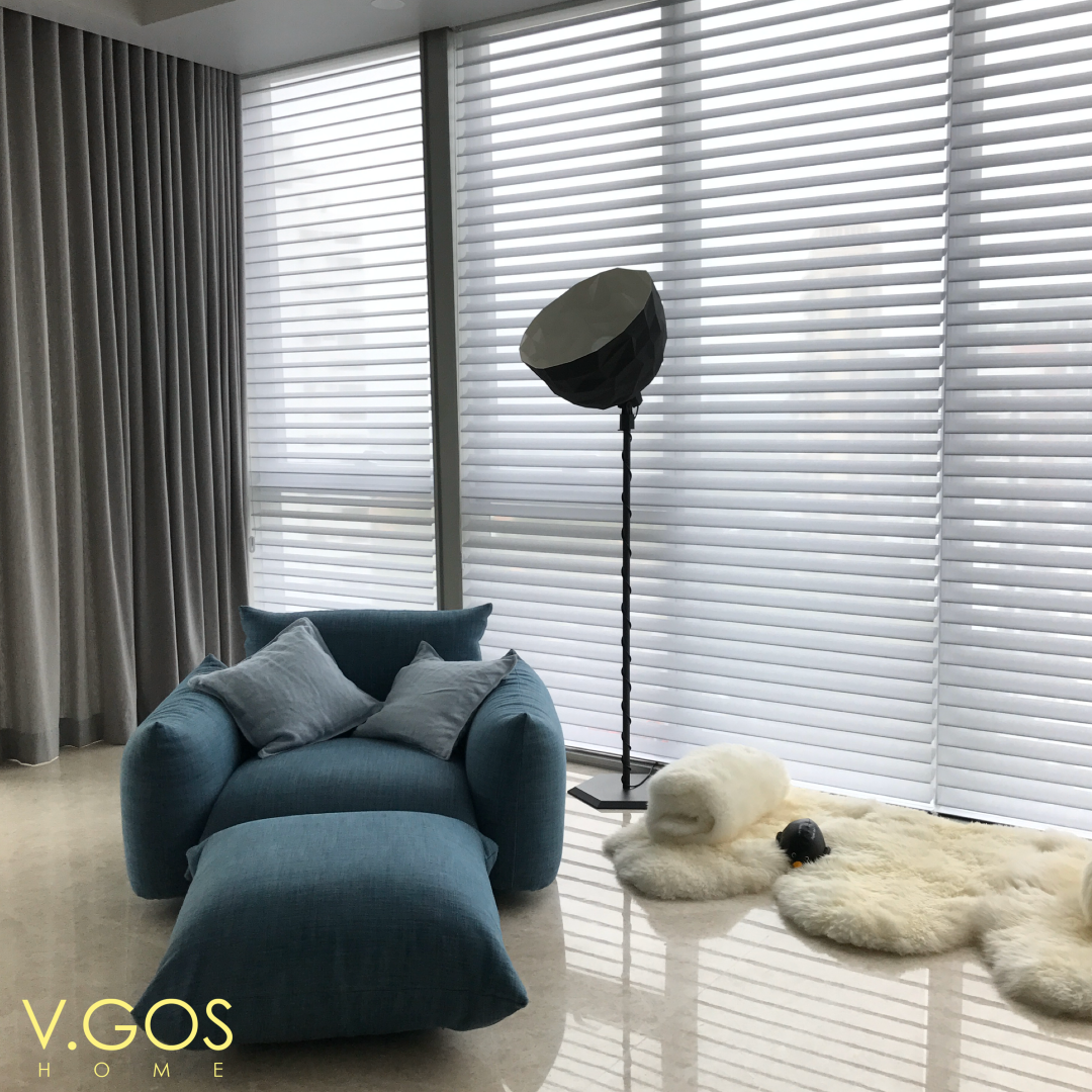 The Beautiful Silhouette Window Shadings with the Singnature S vanes from HunterDouglas